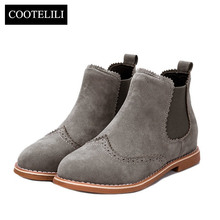 Designers Brand Women Ankle Boots Flat Heels Shoes Woman Suede Leather Boots Brogue Cut outs Slip on Black Gray Plus Size 40(China)