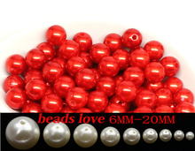 Free shipping Red Imitation Pearl Beads 6/8/10/12/14/16/18/20mm Acrylic Spacer Round Beads Fit Jewelry DIY (w03687)(China)