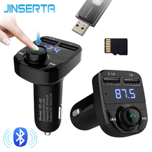 JINSERTA Bluetooth FM Transmitter Audio Mp3 Player Handsfree Car Kit Charger With TF Card Slot USB Pen Drive music play(China)