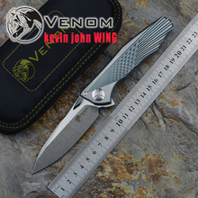 Kevin John VENOM  WingS35VN SOLID Titanium Flipper folding knife ceramic ball bearing camping hunting pocket knife EDC tools