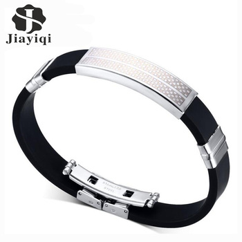 Jiayiqi Fashion Charm Bracelet Stainless Steel Geometric Black Silicone Bracelets & Bangles For Men Jewelry Accessories Gifts
