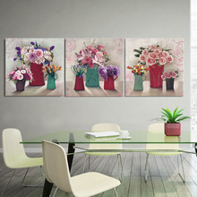 3 Piece Chinese style canvas rose purple flower with vase Still life flower Canvas  Home Decor Wall Painting Art Paintings