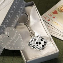 (DHL,UPS,Fedex)FREE SHIPPING+50pcs/Lot+Las Vegas Themed Chrome Keychain with Crystal Dice In Gift Box Wedding Souvenir For Guest