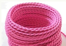 12meters 2 Wire Vintage pink color 0.75mm2 braided Wire Twisted Cable Textile Cable Vintage lighting cable free shipping