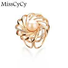 MissCyCy Gold Color Scarf Clip Simulated Pearl Jewelry Hollow Flowers Rhinestone Brooches Women Gift