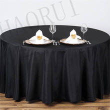 10pcs Customize Table Cover Polyester Cotton Fabric 96'' Round Black Luxury Dining Tablecloths Weddings Party FREE SHIPPING(China)