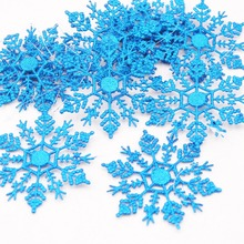 12pcs Snowflakes Christmas 10cm Plastic Glitter Snow Flake Ornaments Christmas Tree Pendant Christmas Decorations for Home(China)