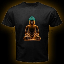 Free shipping Buddha Budha Buddhist Karma Peace Men Black T Shirt short sleeve tee Size S-3XL