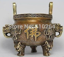 free shipping [Nice Discount ] CHINA HANDWORK DRAGON BUDDHA COPPER INCENSE BURNER