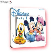 Old Passenger _ Light Switch Stickers Mickey Mouse Minnie Mouse comics cute decoration bathroom glass wall stickers