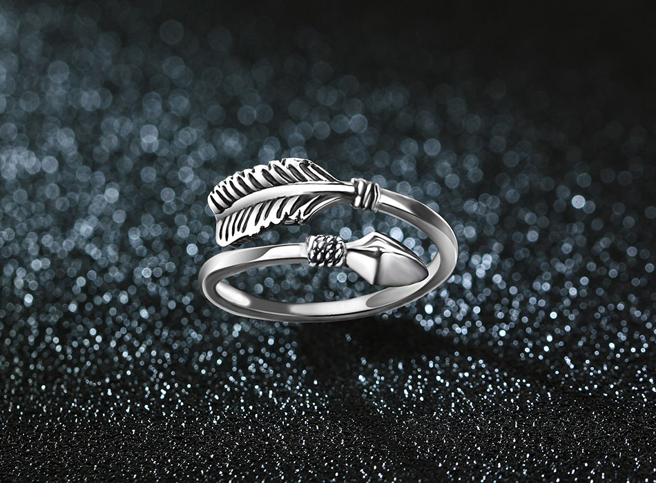 Beautiful Resizable Sterling Silver Cupid Arrow Ring