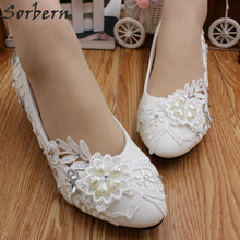 Buy Sorbern Low-Heeled Heart Crystal Lace Wedding Shoes Pump Ladies Slip Cheap White Bridesmaid Shoes Beaded Women Heels for $26.10 in AliExpress store