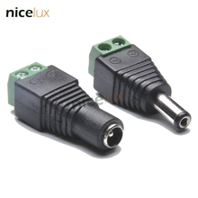 Female Male DC Power Jack Connector Crimp Terminal Block Plug Adapter for 2pin 5050 3528 Single Color LED Strip CCTV Camera Wire(China)