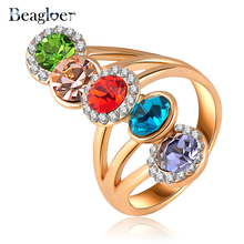 Beagloer Newest Style Ring Gold Color Austrian Crystals Inlayed Engagement Rings Charm Jewelry Ri-HQ0369(China)