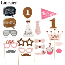 Lincaier 20 Pieces 1st Birthday Party Decoration Photo Booth Props I AM ONE Photobooth First Year Baby Boy Girl Fun Supplies