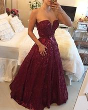 2017 Custom Made Sexy Burgundy Sheer A-line Floor Length Evening Dress robe de soiree With Shiny Sequins Beaded Prom Party Gowns
