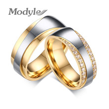 Modyle Gold-Color Wedding Rings For Lovers Luxury Cubic Zirconia 7mm Engagement Forever Love Couple Ring for Men and Women(China)