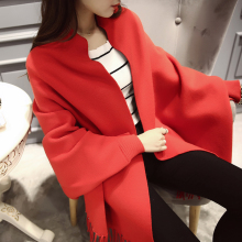 2609 - 2016 big explosion of double color tassel Wool Shawl Jiaxing women cardigan sweater