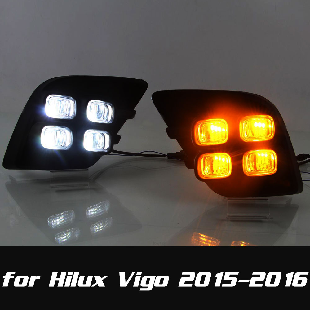 DRL Daytime Running Light for Toyota Hilux Vigo 2015 2016 Front Left and Right Fog Light Cover DRL or DRL and Turning Light<br>