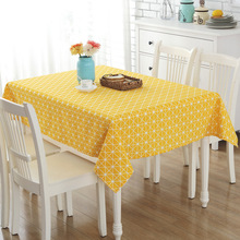 Yellow Geometric Striped Pattern Tablecloths Fashion European Style Rectangular Table Covers Cotton Linen Kitchen Table Cloths