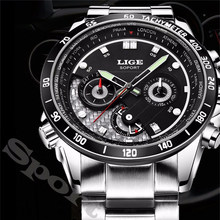 LIGE Brand Sport Watch Men Quartz Watches Men's Fashion Casual Wristwatch International Time Zone Rotation Luxury Military Clock(China)