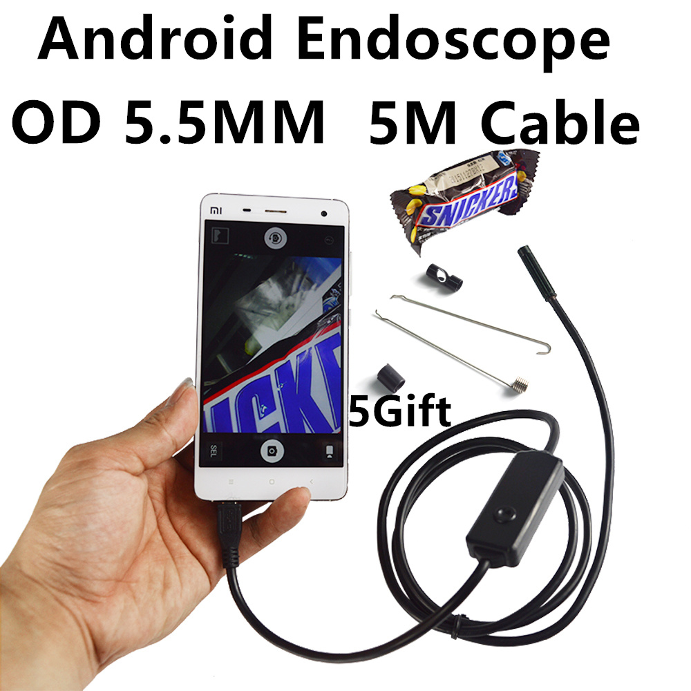 The Latest 5.5mm 6 LEDs Android Smartphone USB Endoscope IP67 Waterproof OTG Android Inspection Camera With 5M Cable Borescope<br><br>Aliexpress