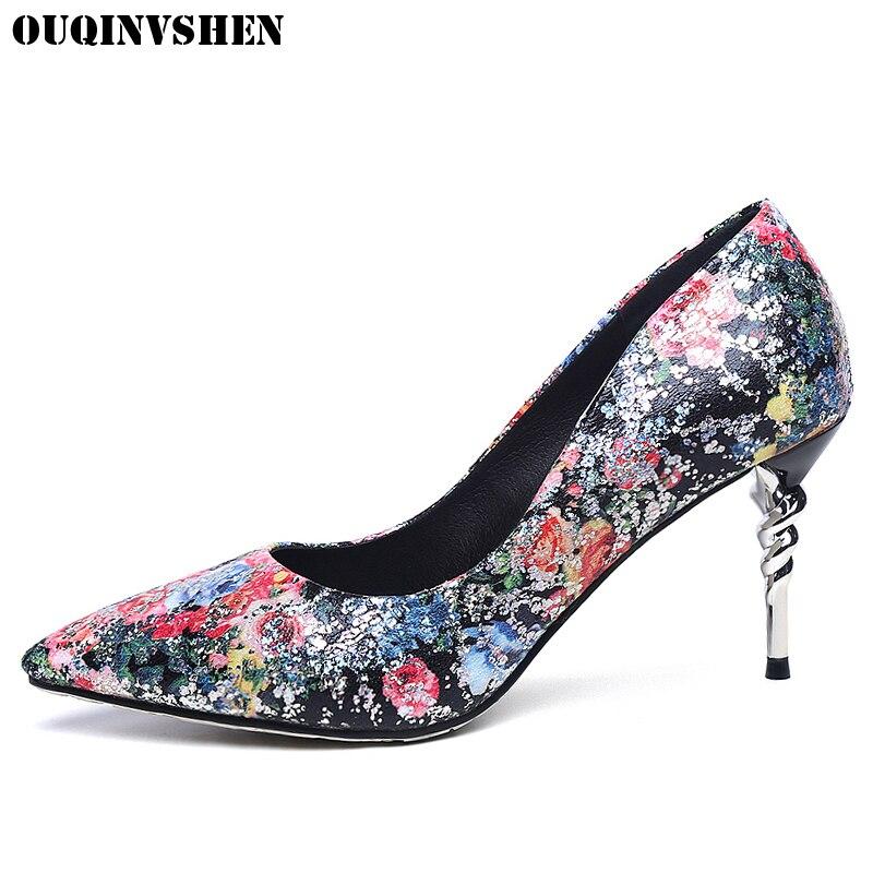 OUQINVSHEN Printing High Heels Women Pumps Casual Fashion Thin heel Women Single Shoes Pointed Toe Stiletto heel Ladies Pumps<br>