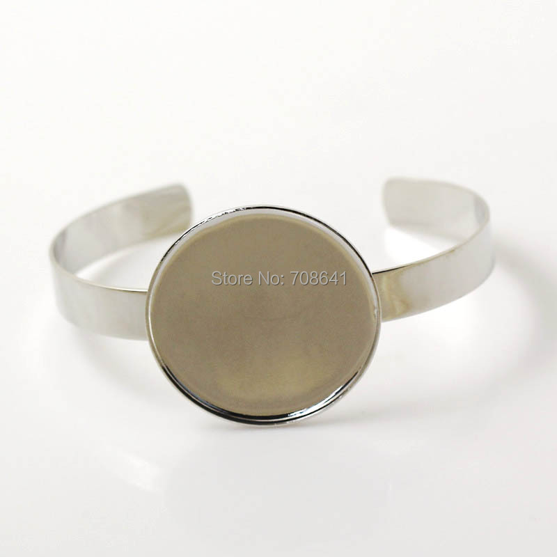 New Silver Plated Brass Metal Blank Bangle bases strong Round Bezel tray Open cuff Bracelet Bangle Settings Findings