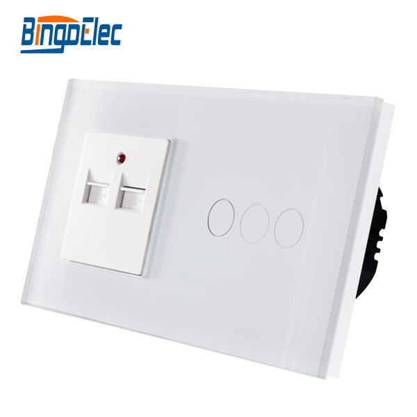High Quality CE certification Glass Panel 3gang 1way Touch switch and 3.1A 3100MA USB socket <br>