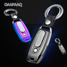 2017 New Metal USB Lighter Rechargeable Electronic Lighter Keychain Cigarette Turbo Lighter Leather Key Chain Cigar Palsma(China)