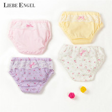 2pcs Baby Girls Panties 100% Cotton Underwear Sweeter Lace Floral kids Briefs Shorts Lucky Child Calcinha 1-5 T(China)