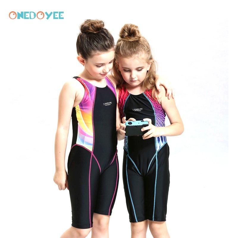 ONEDOYEE Professional Girls Swimsuit One Piece Swimwear Girl Swimwear Kids Bathing baby Suit Patchwork Swimsuits Splice Bathing <br>