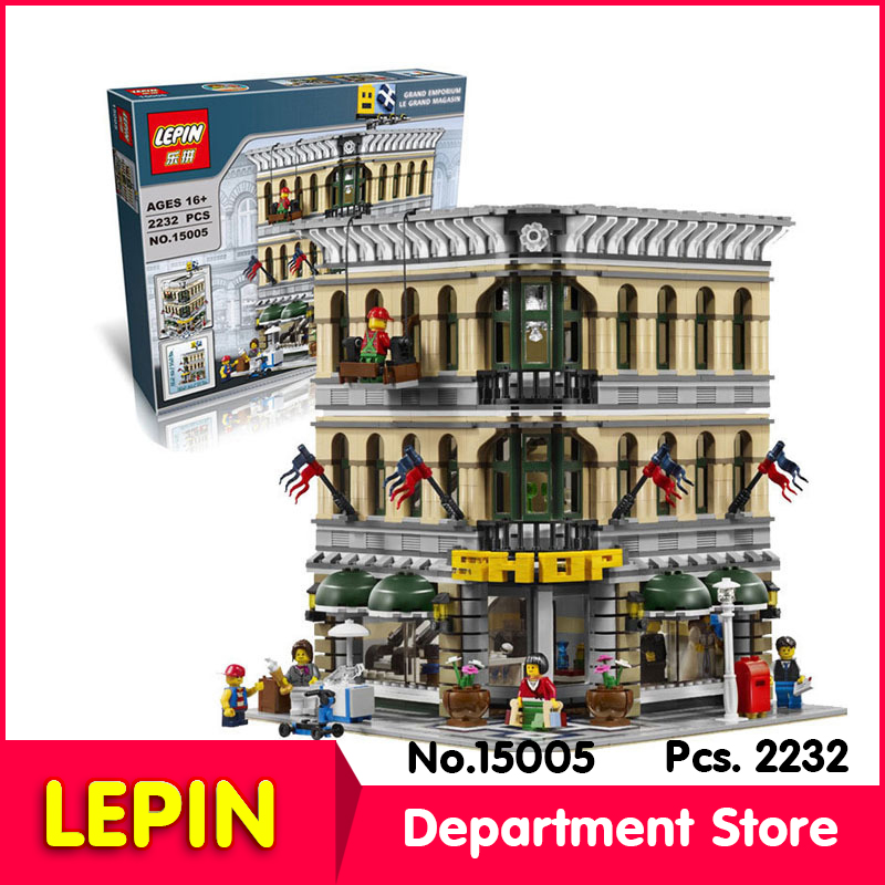 LEPIN 15005 2313Pcs Street View Series Grand Emporium Model Building Blocks Brick Toy Compatible With Legoe Toys 10211<br><br>Aliexpress