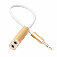 3.5MM 1 in 2 Audio Line Headphone Earphone Splitter Line 25CM Extension Cable Lovers Headphones Cable Adapter For pad Phone