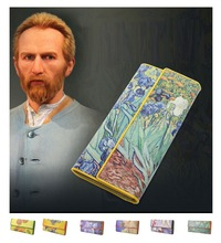 Women Leather Trifold Wallet Van Gogh Oil Painting Purse 3D Texture Mobile Case Vintage Retro Fashion Card Holder Zip Coin Bag(China)