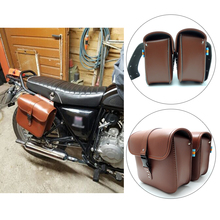 KEMiMOTO Motorcycle saddle bags PU Leather SaddleBag cruise vehicle side Panniers Tool Bag for Harley Cruiser after market(China)