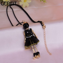 GEREIT Popular Necklace Trendy Sweater Chain Long Jewelry Lovely Black Dress Girl Doll Pendant Necklace Christmas Accessories(China)