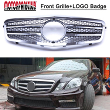 For Mercedes Benz W212 E Class 10-13 Black Chrome 2Fin Front Hood Sport Grill Grille With Car Badge Sticker Emblem Cover(China)