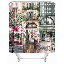 Fashion Personality Cartoon Scenic Shower Curtains Waterproof Bathroom Curtains Polyester 180x180cm 71x71inch With Hooks(China)