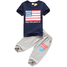Brand 2-6T Flag Pattern Baby Boys Clothing Sets 2017 Summer Kids Clothes Sport Suit for Boy Casual Cotton Children Boy Clothes