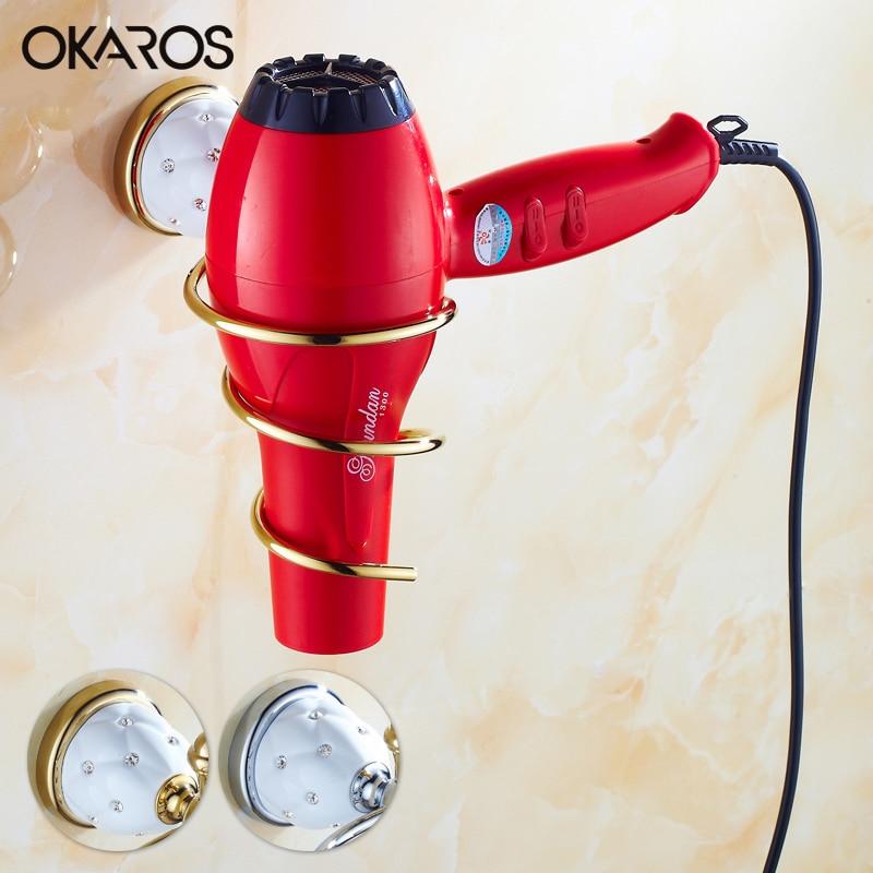 Bathroom Hair Dryer Holder Hair Dryer Rack Solid Brass Golden/Chrome Diamond Storage Rack Shelf Decoration Bathroom Accessories<br><br>Aliexpress