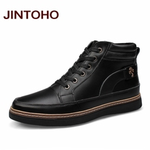 JINTOHO Big Size Fashion Horse Riding Boots Genuine Leather Men Shoes Black Ankle Booties Cowboy Boot Fashion Casual Men Boots(China)