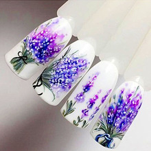 Lavender Nail Stickers on Nails Blooming Flower Stickers for Nails Lavender Nail Art Water Transfer Stickers Decals ZJT097(China)