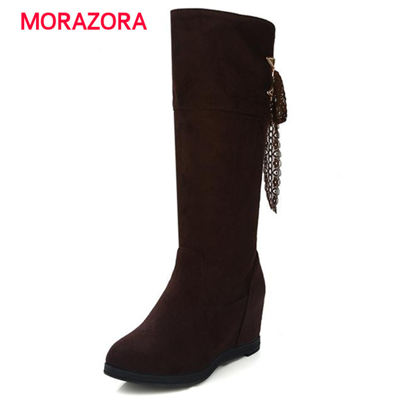 MORAZORA Spring autumn 2017 women boots ribbon solid mid calf half boots big size 34-43 elegant fashion boots<br>