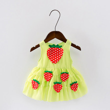 Red Green Pink White Summer Girls Strawberry Toddler Dress For Kids 0-4Y Girls Children Clothing Princess Dresses Clothes DS8