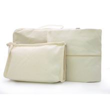 Free Shipping,Plain Nature Cotton Canvas Travel Bag Set. Travel Madeup Toiletry Bag,Clothes Garment Bag,Underwear Storage Bag