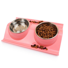 Puppy Plastic Dog Food Bowl Stainless Steel Pet Bowl Double Water Gamelle Chien Springboard Comedero Perro Pet Supplies 50A0463