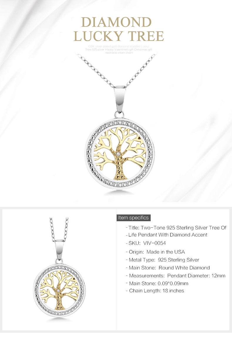 Two-Tone 925 Sterling Silver Tree Of  Life Pendant With Diamond Accent