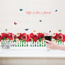 Creative wall stickers fresh fence red daisy feet line stickers bedroom living room floor wall stickers(China)