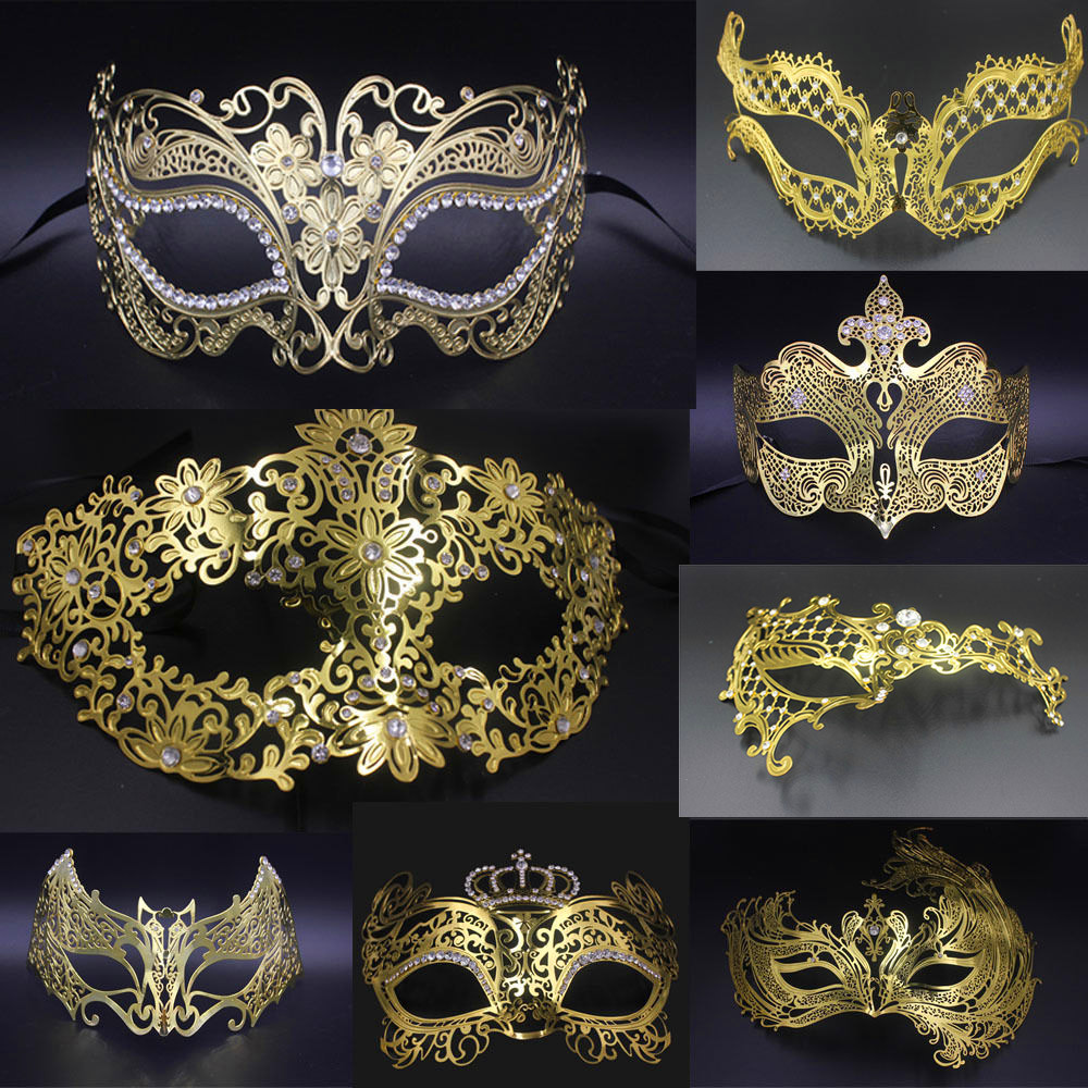 LASER CUT Venetian Masquerade Costume Crystal Ball Prom Party Wedding Red Mask